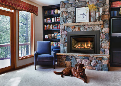 Chaska 335S Gas Fireplace Insert - Gas insert fireplace with a traditional log set and millivolt system.