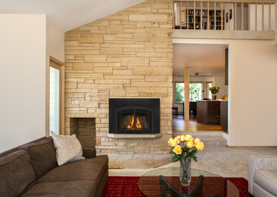 Jordan 30S Gas Fireplace Insert - Gas insert fireplace comes standard with traditional log set.
