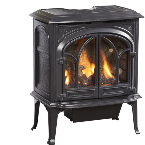 GF 300 DV Allagash Gas Stove - Combination of modern inlay cast iron double door design with state of the art combustion technology