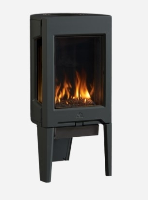 GF 160 DV Gas Stove - Modern three-sided fire view with a unique tripod base.