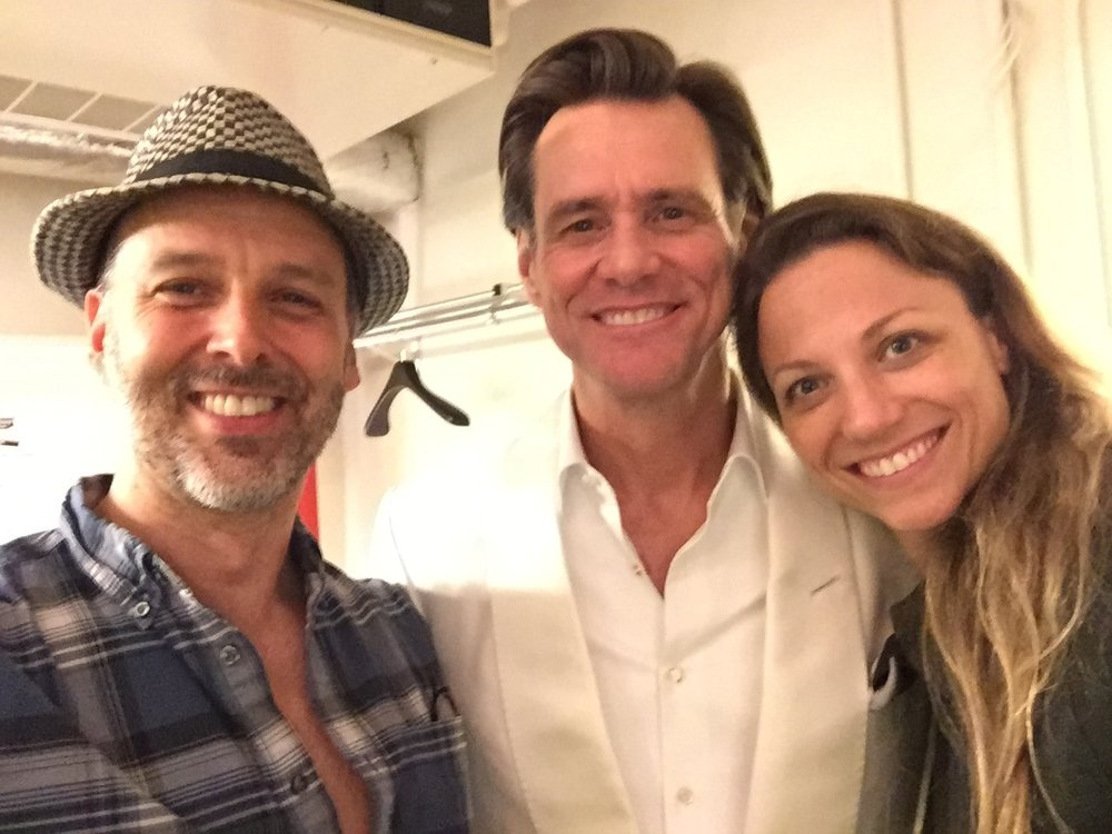 Noah Racey, Jim Carey and Sara Brians,  The Terms Of My Surrender.   (Starring Michael Moore).  Belasco Theatre.