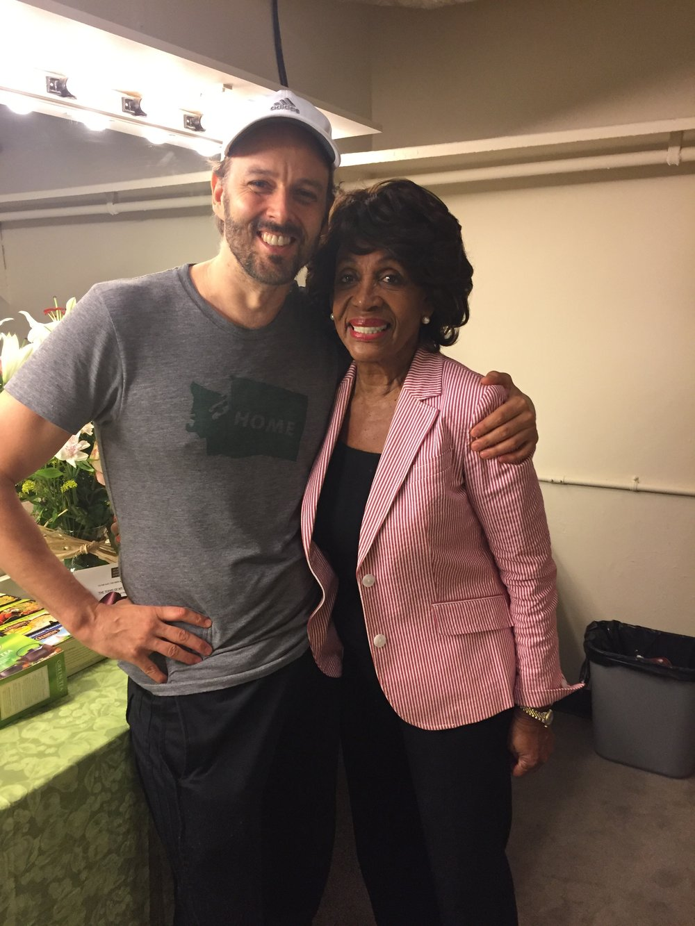 Noah Racey and Congresswoman Maxine Waters,  The Terms Of My Surrender.   (Starring Michael Moore).  Belasco Theatre.