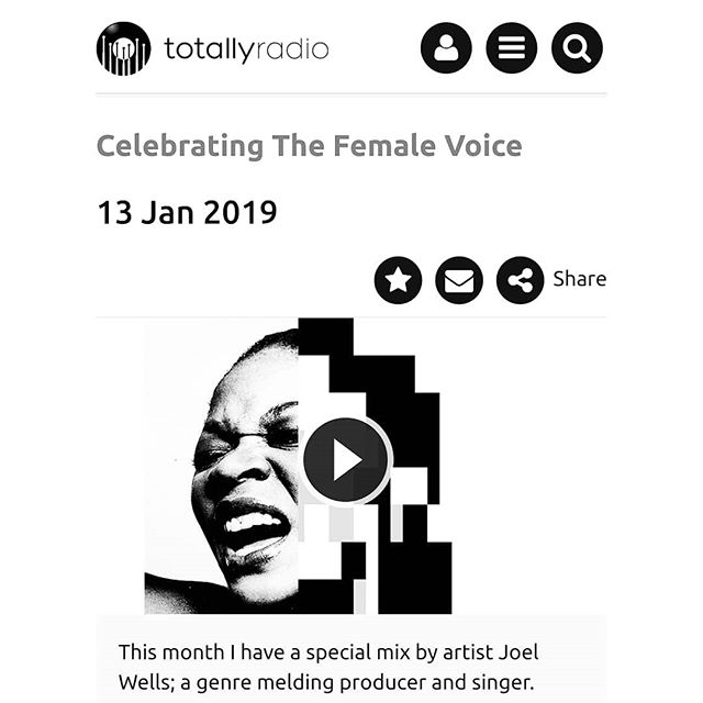 My mix 'Celebrating the Female Voice' is up on 'Totally Radio'. ... ... https://www.totallyradio.com/shows/celebrating-the-female-voice/episodes/celebrating-the-female-voice-13-jan-2019 ... ... Stepping in and selecting an eclectic mix of female voices for @abiwade & @totallyradio #celebratingthefemalevoice