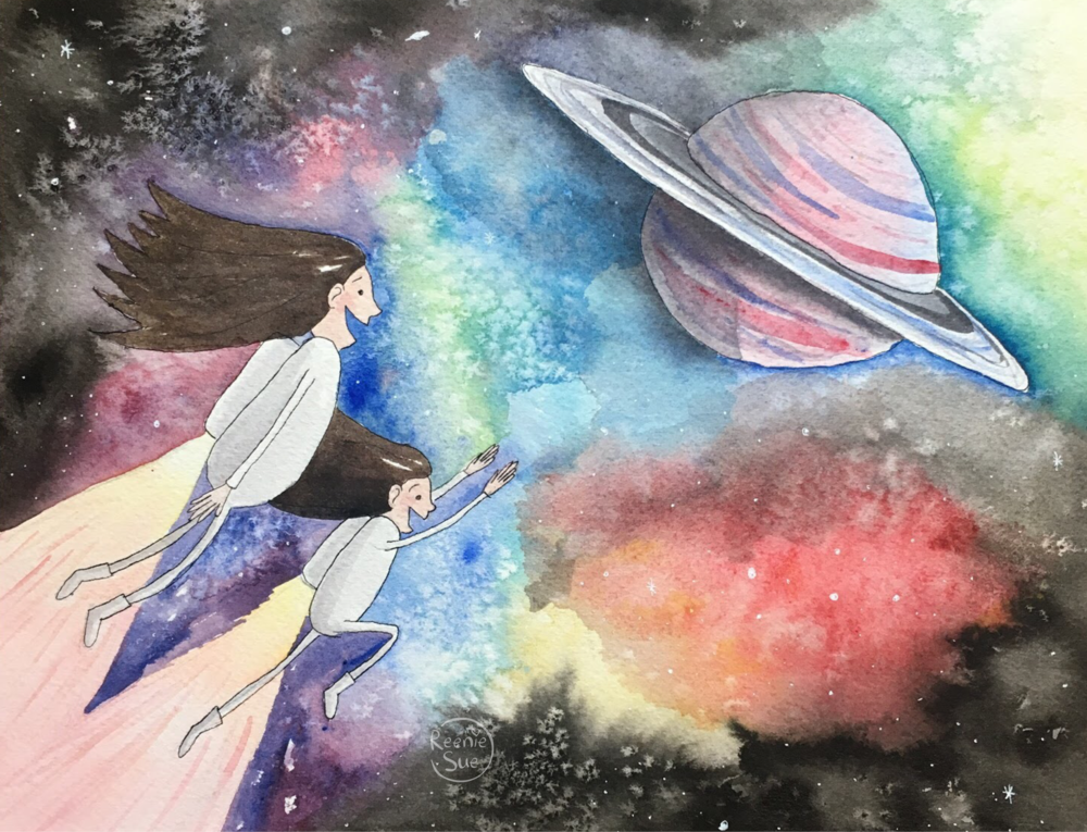 A mother and son with long flowing hair fly through space with jet packs.