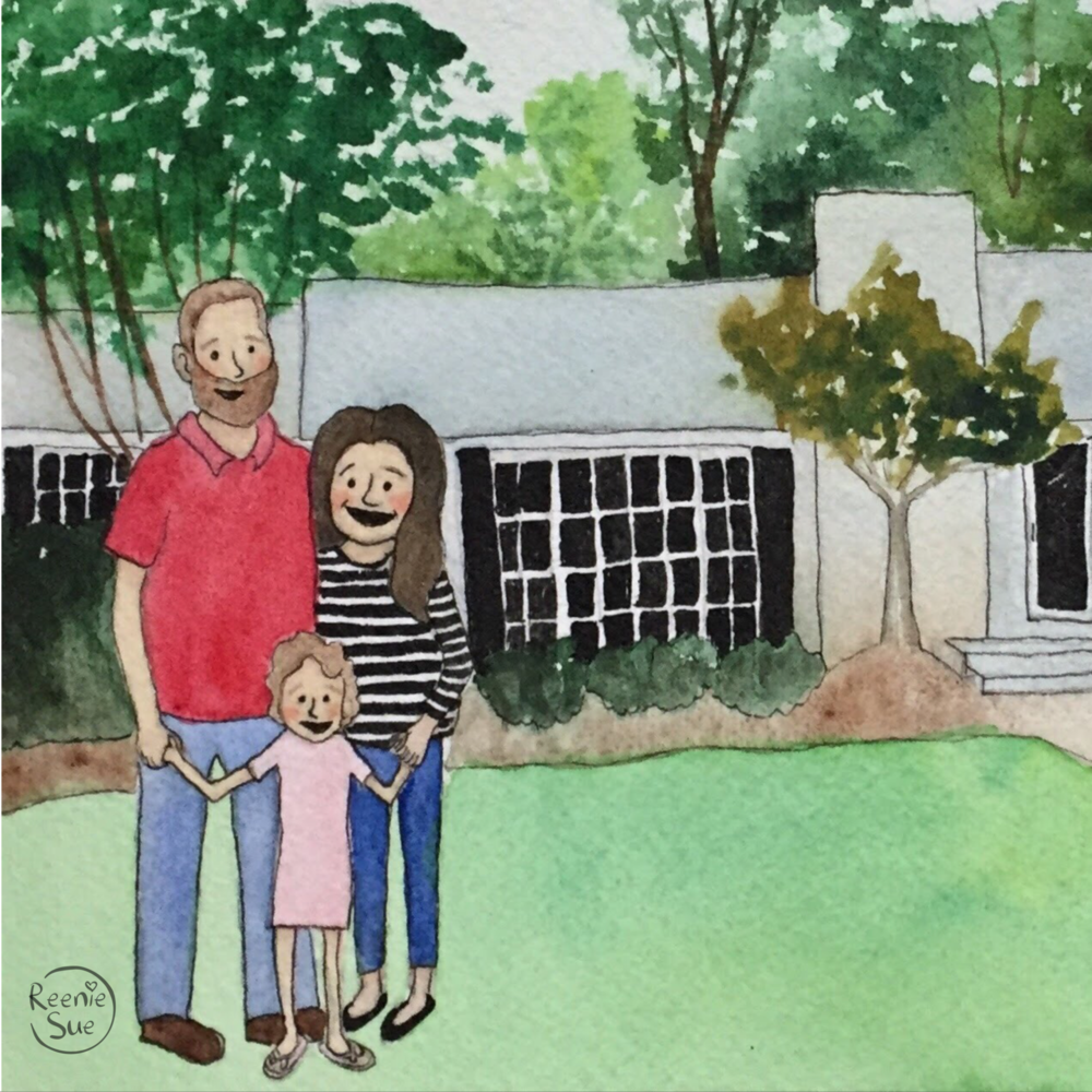 The Brintles, a family of three, pose in front of their new house.