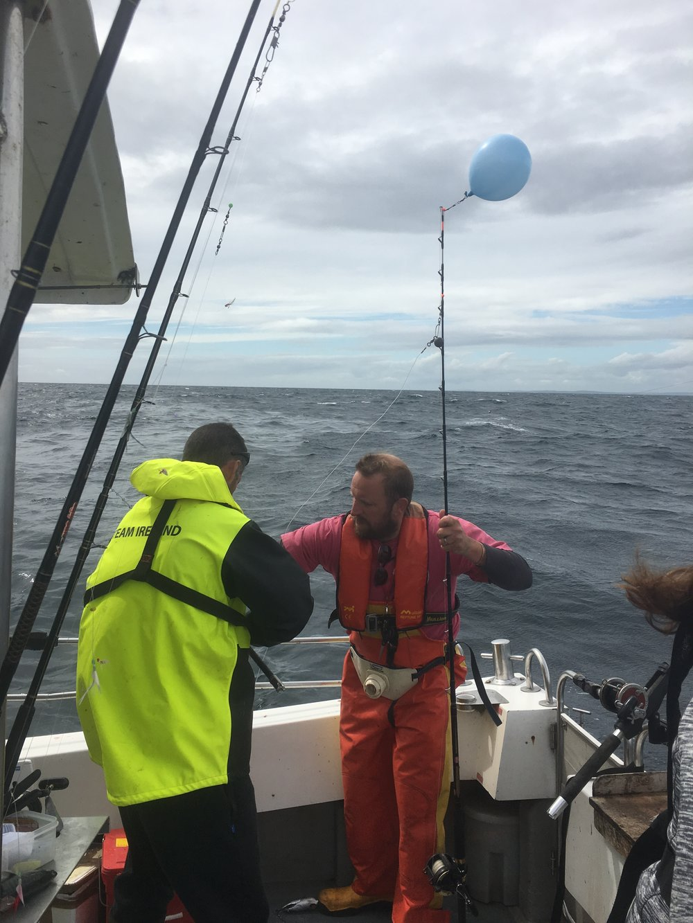 Using balloons as floats is common practice here when angling for blue sharks.