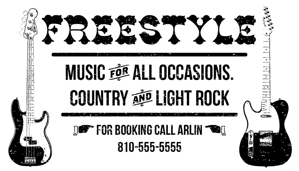 Business Card design for local Country and Light Rock Band.