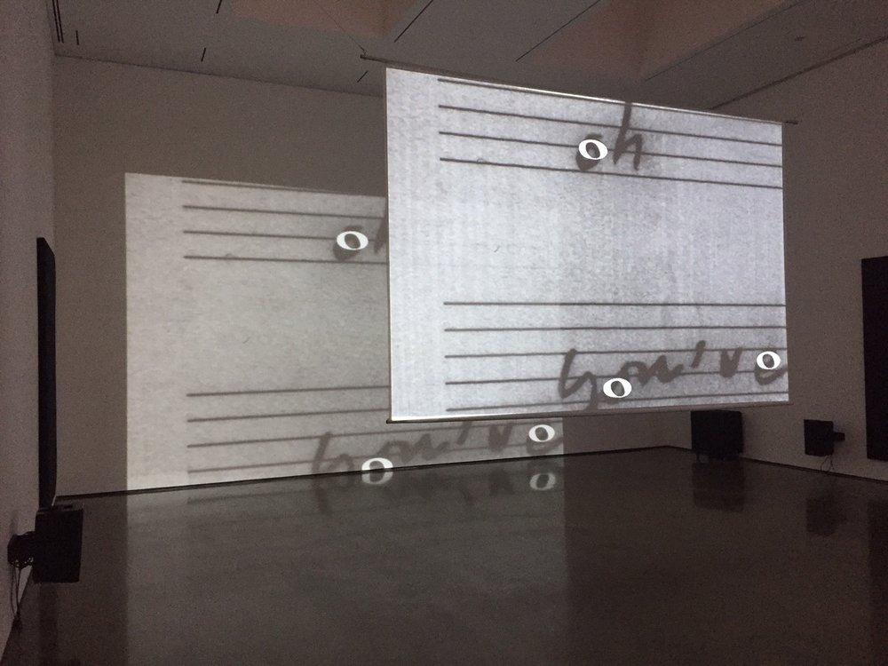 "View of installation at Bard CCS exhibition ""Marina Rosenfeld: After Notation"", 2017"