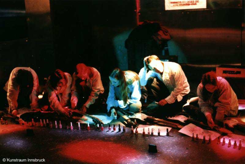 Sheer Frost Orchestra, performance view, in a local night club, project of Kunstraum Innsbruck, Innsbruck, Austria, 2000