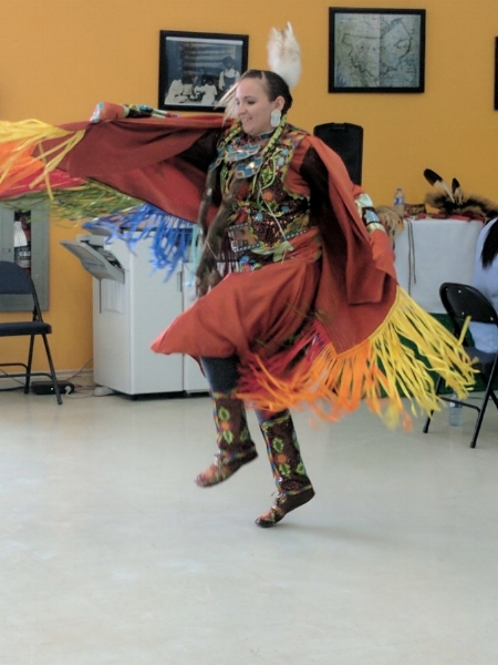 First Nations teacher Jennifer Nicotine performs a hoop dance at the Nistawoyou Friendship Centre in Fort McMurray on Monday, May 15, 2017