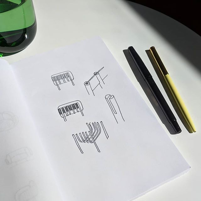 First sketches of a new project . #sketch #sketchbook #ideation #industrialdesign #design #furnituredesign #furniture
