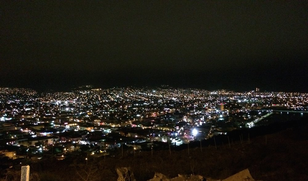 A view of Tijuana from San Diego at night.