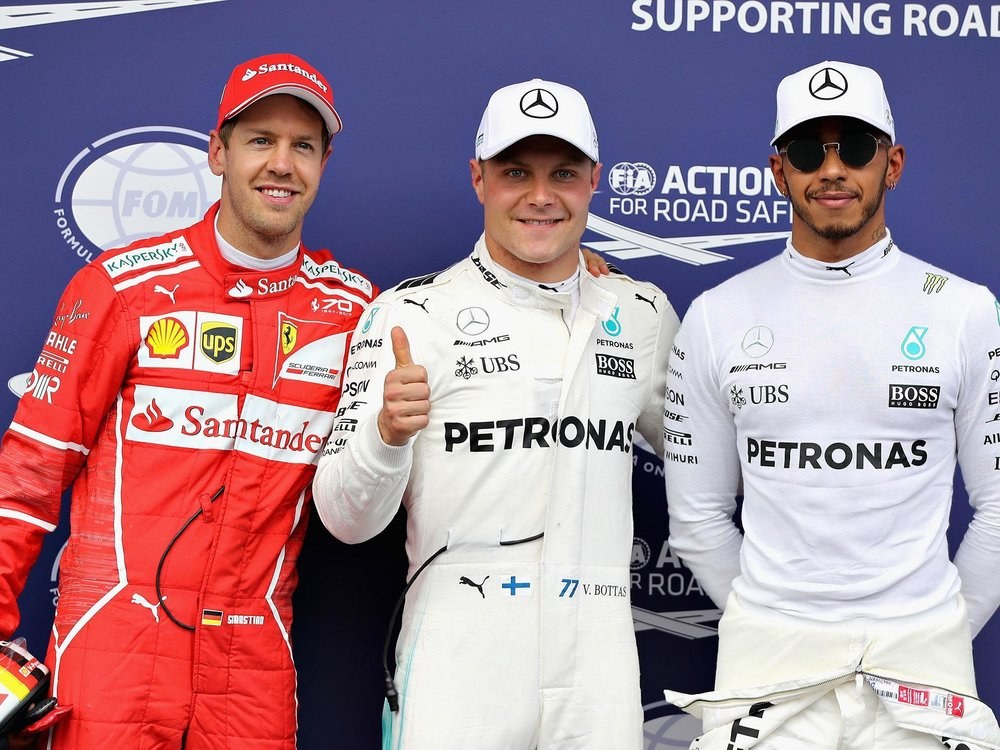 Left To Right: Sebastian Vettel-Valtteri Bottas-Lewis Hamilton.