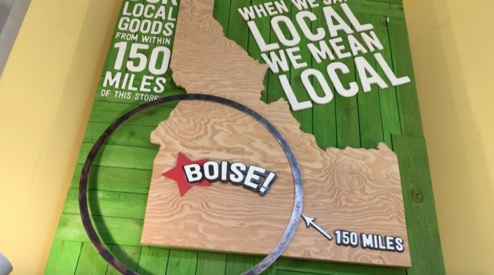 This Boise, Idaho sign is in the produce section of the Boise Co-op (North End Store)