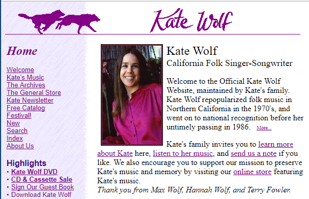 Old Kate Wolf Website