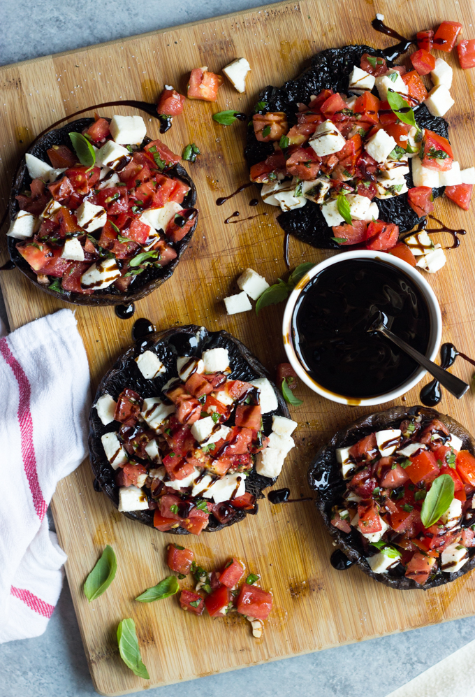 Grilled Portabello Mushrooms with Caprese Salad by  www.littlebroken.com
