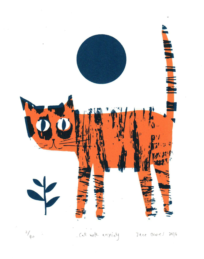 Rostra Gallery. Jane Ormes. Cat with Anxiety Orange.jpg