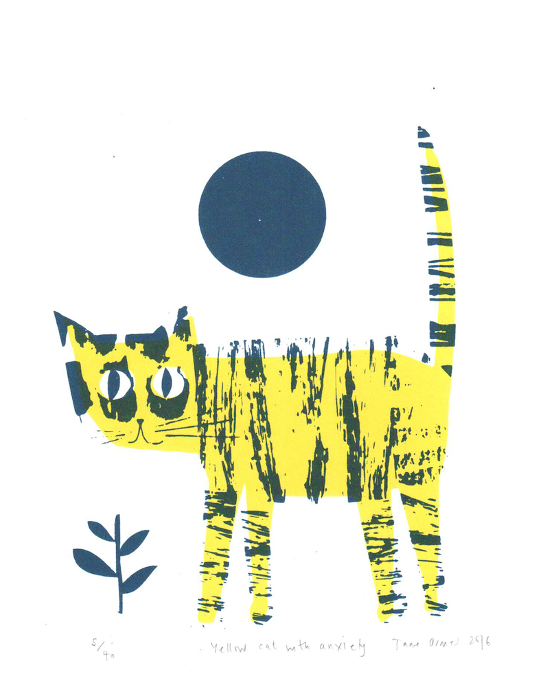 Rostra Gallery. Jane Ormes. Yellow Cat with Anxiety.jpg
