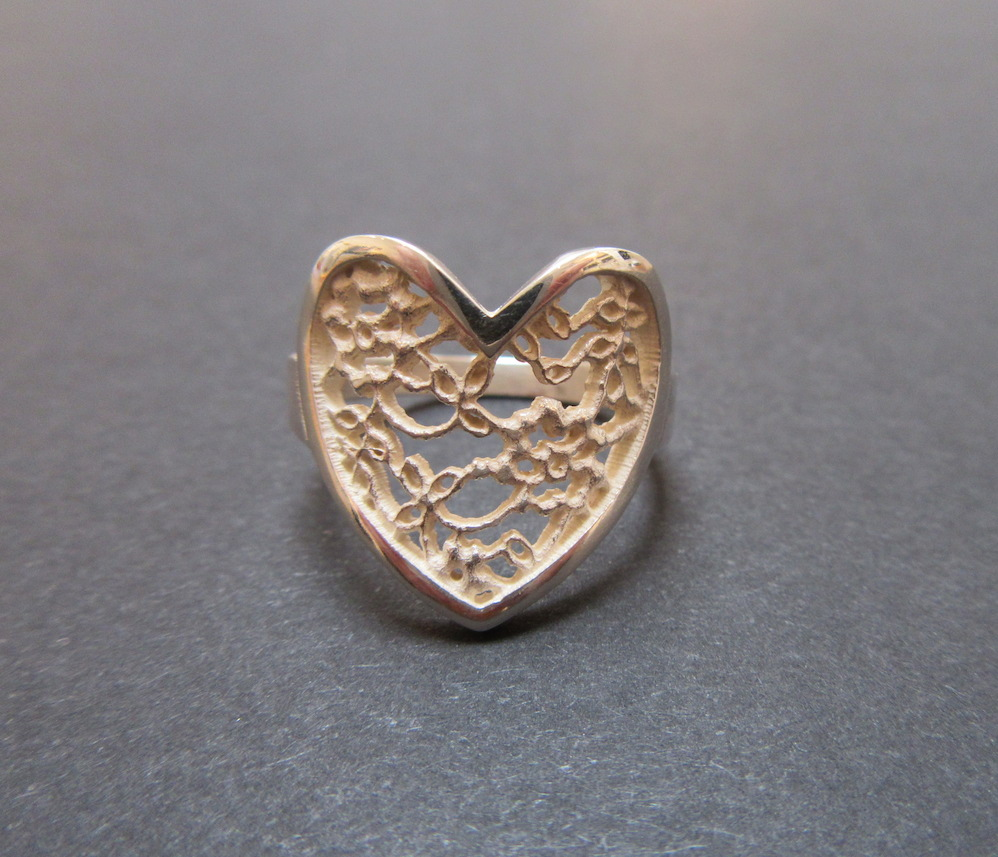 Silver Lace Heart Ring