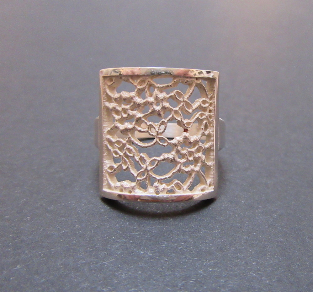Silver Lace Square Ring