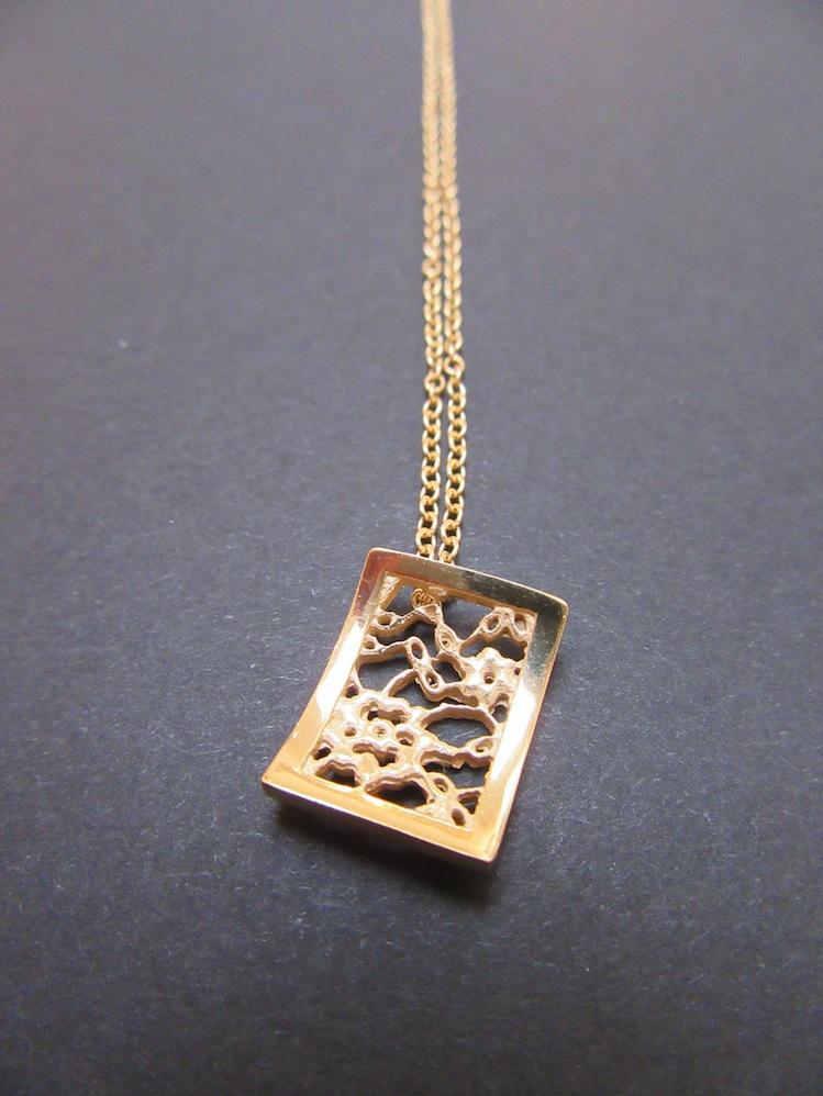 Gold Lace Rectangular Pendant