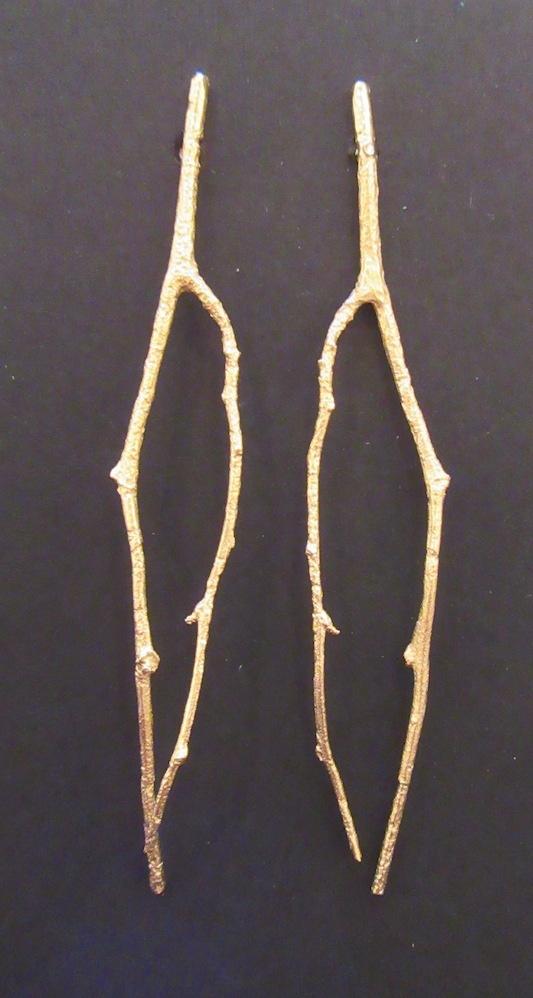 Gold Briar Branch Earrings