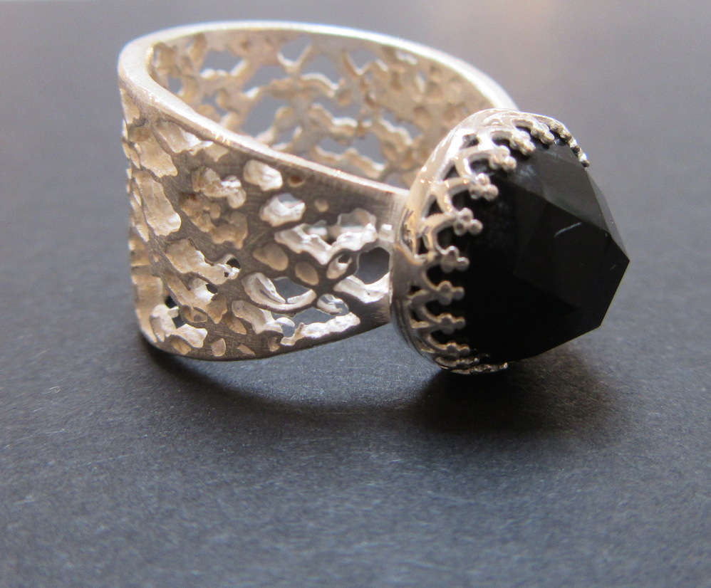 Silver & Onyx Lace Ring