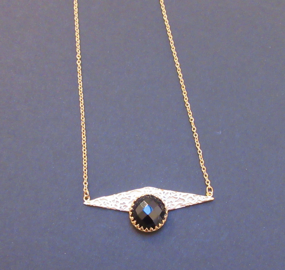 Gold & Onyx Lace Necklace