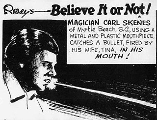 Carl's father featured in @ripleysbelieveitornot for being the first person to catch a real bullet in their mouth. He went on to teach this stunt to one of the great living magicians of our time. • • • #20Penny #20Pennycircus #sideshow #circus #swordswallower #comedy #contemporaryclowns #questionabletaste #clownsighting #Clowning #Clown #varietyperformer #varietyact #Bulletcatch #ripleysbelieveitornot #Orlando #HumanPincusion