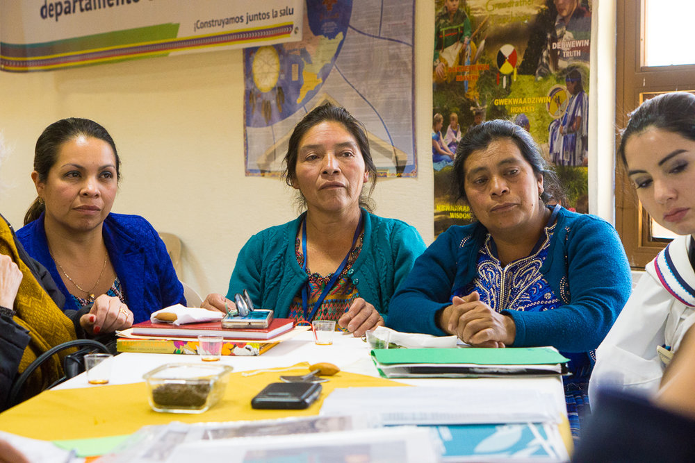 (Left to Right) Juana Maria, a Totonicapán Health Directorate representative joins traditional Indigenous midwives Angela Perez and Maria Batz, alongside Inuit midwife Cas Connelly, in discussing the situation of Indigenous Maya K'iche' and Inuit women and children in Totonicapán and Nunavut