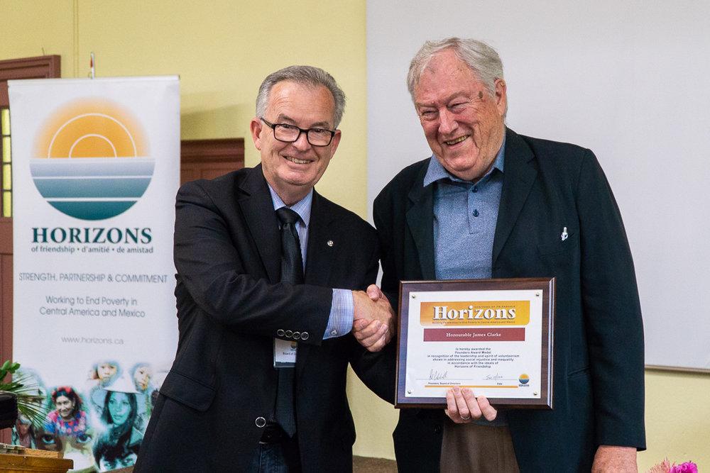 Horizons board member  Garnet Ward  (left) presenting the Founder's Award to  James Clarke .