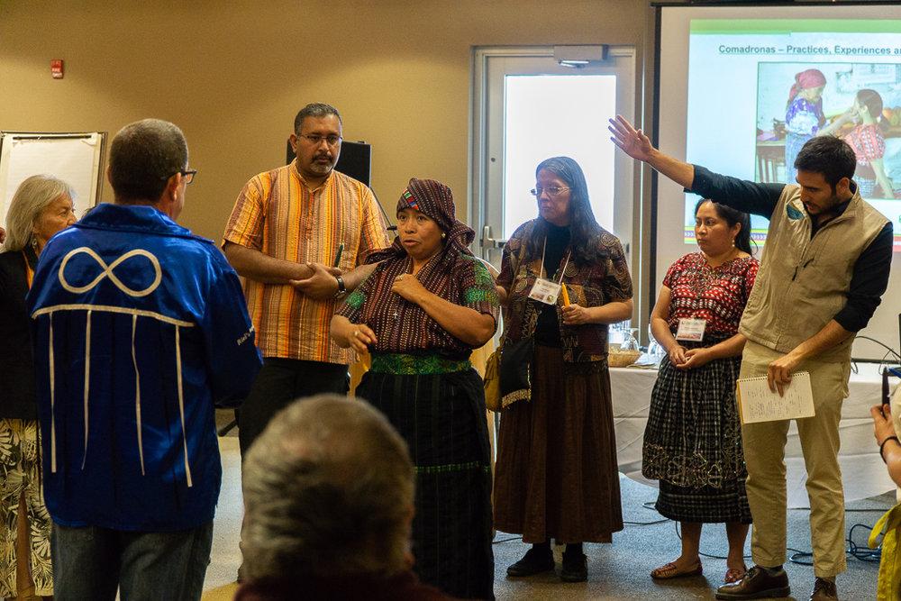 OPSEU  members alongside  Wikwimekong  Elders and community leaders listened closely to Antonia's prayer.