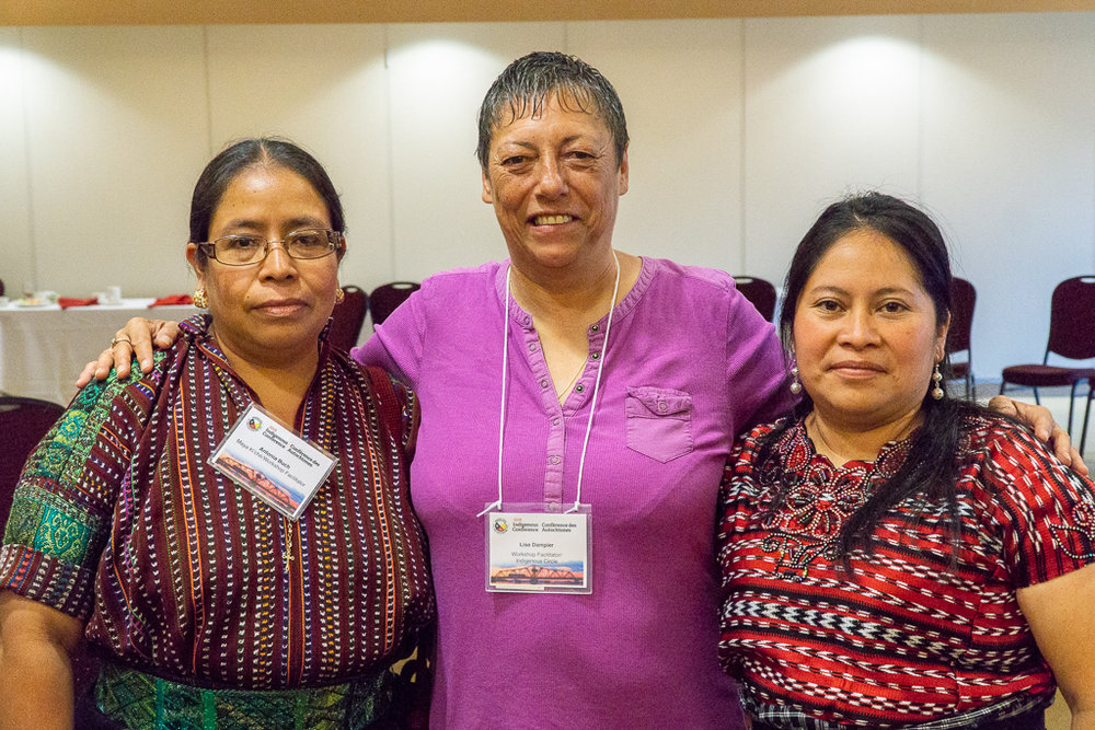 Antonia (left), and Veronica (right), flanking Anishinaabe kwe,Michipicoten First Nation (Robin Superior Treaty), and proud  OPSEU  member,  Lise Dampier .