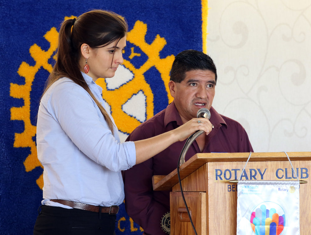Horizons staff member Hannah Matthews and Indigenous community leader Eusebio Lopez Sontay speaking at the Rotary Club of Belleville during one of Horizons' knowledge exchanges to Canada.