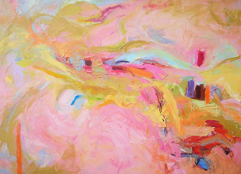 "Title- Happiness Needs Subtle Adventure 48x36"" The Blinking Light Series- There is a special light that comes off of these paintings. The subject matter is anywhere from landscapes to philosophy. What pulls them all together is that they are fully and totally abstract. I have dropped all horizon lines, so you are on your own when viewing these."