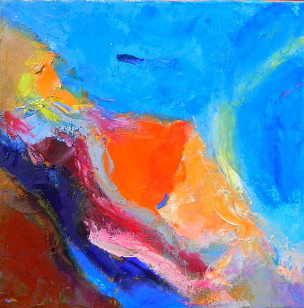 "Title- Always Leave Foot Prints 10x10"" Statement -Mars Needs Women This exploration of Landscape and women is the foundation of this series. The beauty of Mars is that it is predominantly an orange planet with blue shadows. These two colors being contrast colors give the compositions a whole new color theory on landscapes. Painting where there is no gravity anddifferent atmosphere density are exciting to any landscape painter. Earth is so blue and green, that is why Mars is so exciting to paint, THE ORANGE is a warm color.  To view the Mars landscapes, I did a few astral projection sessions to get a feel of the Mars Landscapes. The beauty of exploration of women on Mars is that there is none. So the field is a totally open one. This open field allows for unknown concepts to be painted."