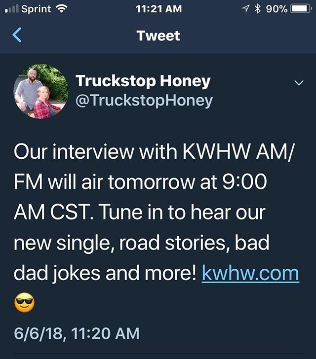 Our interview with KWHW AM/FM will air tomorrow at 9:00 AM CST. Tune in to hear our new single, road stories, bad dad jokes and more! www.kwhw.com 😎