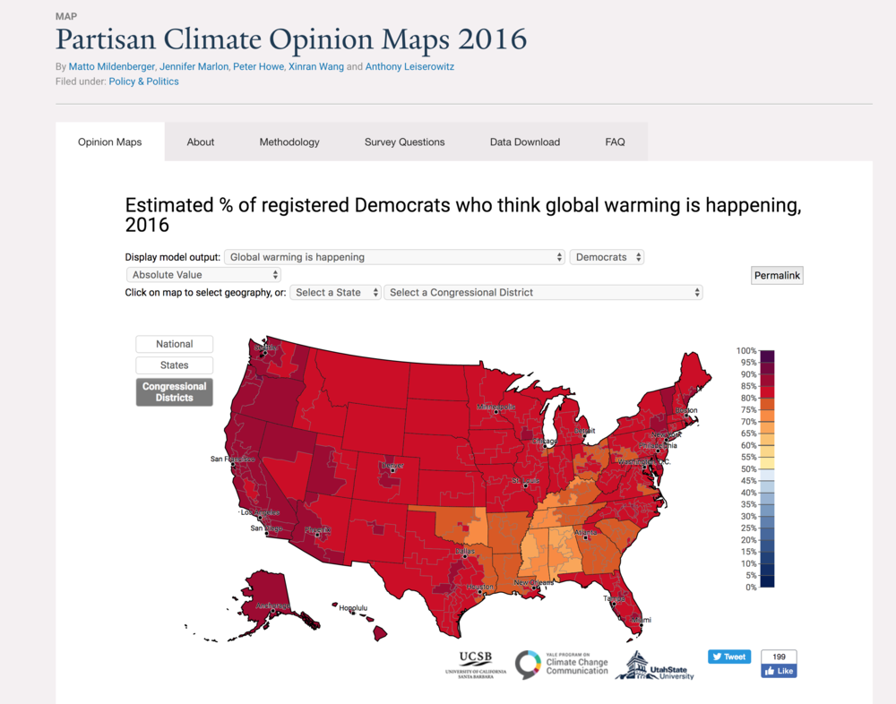 New online visualization tool to map Democratic and Republican climate beliefs.