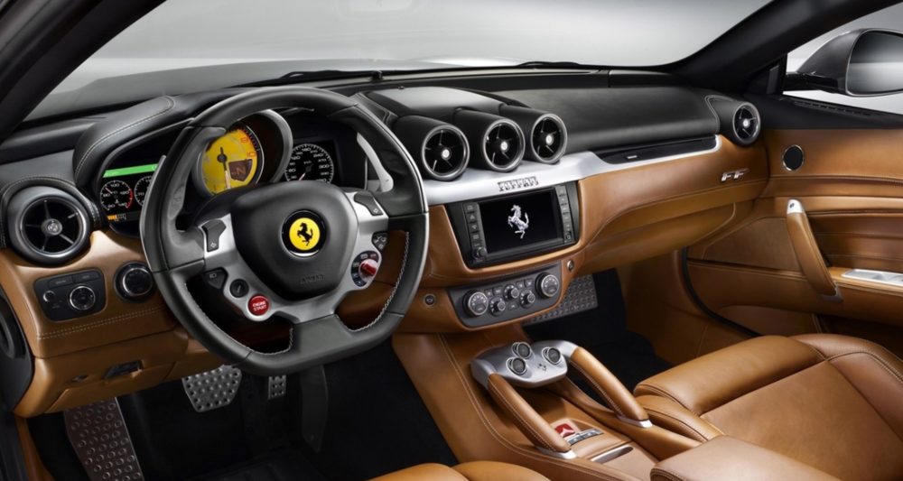 The simple yet luxurious interior of the Ferrari FF.