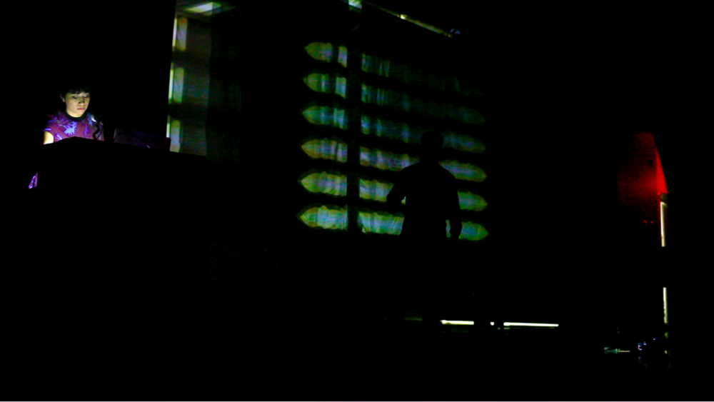 The performance involved an actor, pianist, recorded audio, and animated visuals coded in OpenFrameworks and responsive to the live piano sounds.