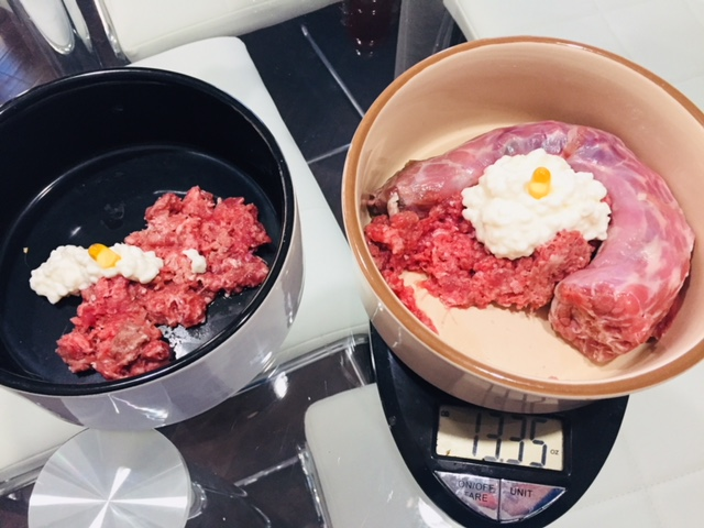 ground meat and cottage cheese with a raw meaty bone and fish oil...is it really THAT odd?