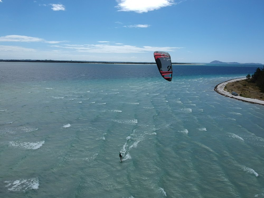 Kitesurfing at Rangiputa. Thanks to Preston, my friend with a drone, for the awesome photo!
