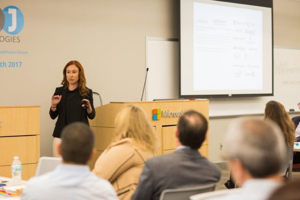 Jessica Higgins at The Future of Healthcare Forum in Microsoft offices, Ft. Lauderdale, FL, discussing blockchain technology and its impact on the future of healthcare culture.