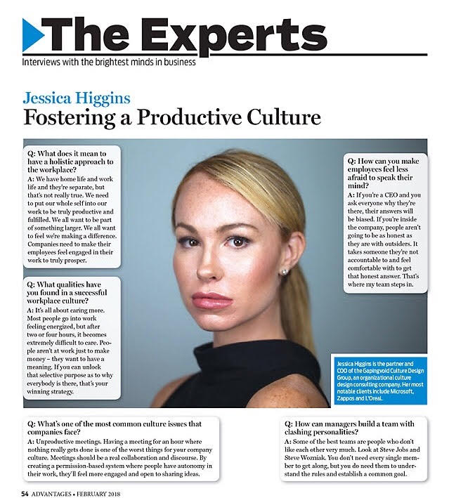 Jessica Higgins as the Featured Expert in Advantages Magazine, February 2018.