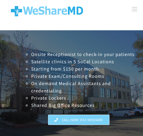 CHIEF MARKETING OFFICER   Jessica and her team at WeShareMD are disrupting the medical model with WeWork-style, flexible medical office space. Locations exist throughout Southern California and are soon to open in South Florida.   Investment opportunities and partnerships are available.