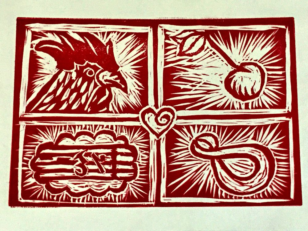 my love gave me a cherry - 2012, Linocut
