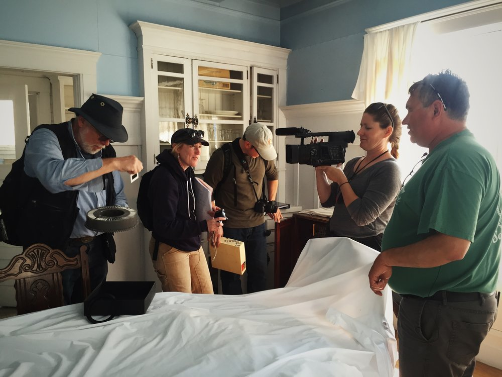 Bob King, John Wachtel, Katie Ringsmuth, Sharon Thompson and Carvel Zimin documenting the buildings at the NN Cannery in preparation for a Nomination of the site to the National Register of Historic Places.