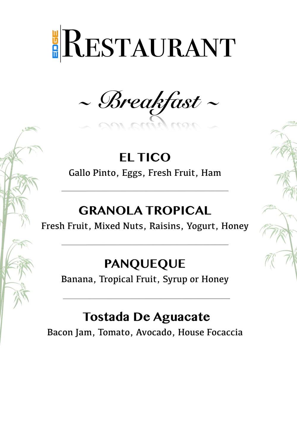 Jungle's Edge Breakfast Menu
