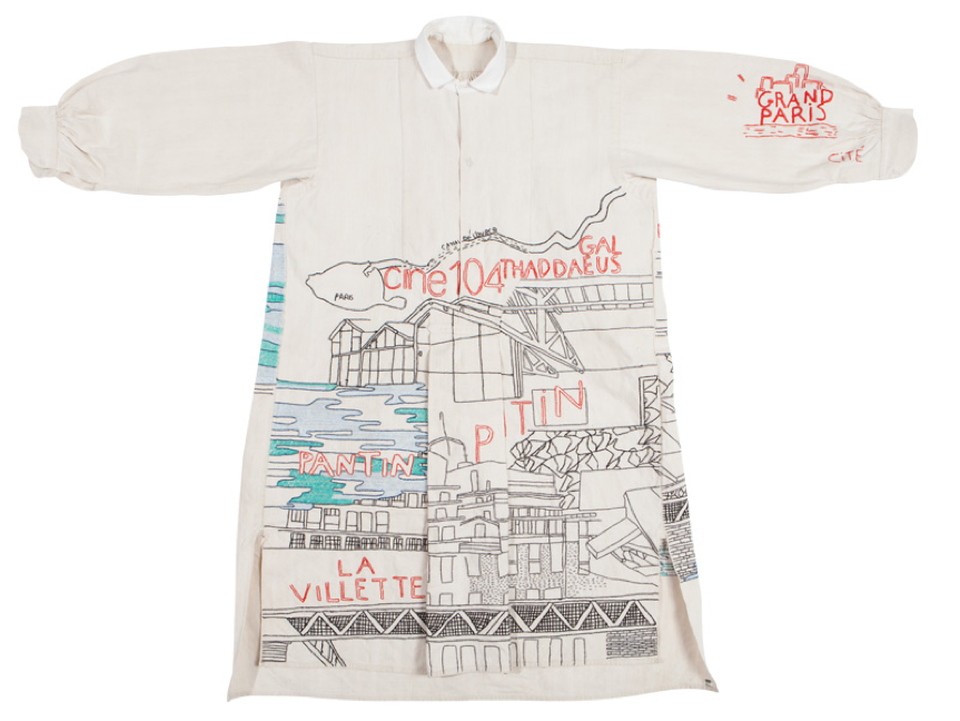 19th Century Vintage Dress Shirt with Pantin, Paris, France Design