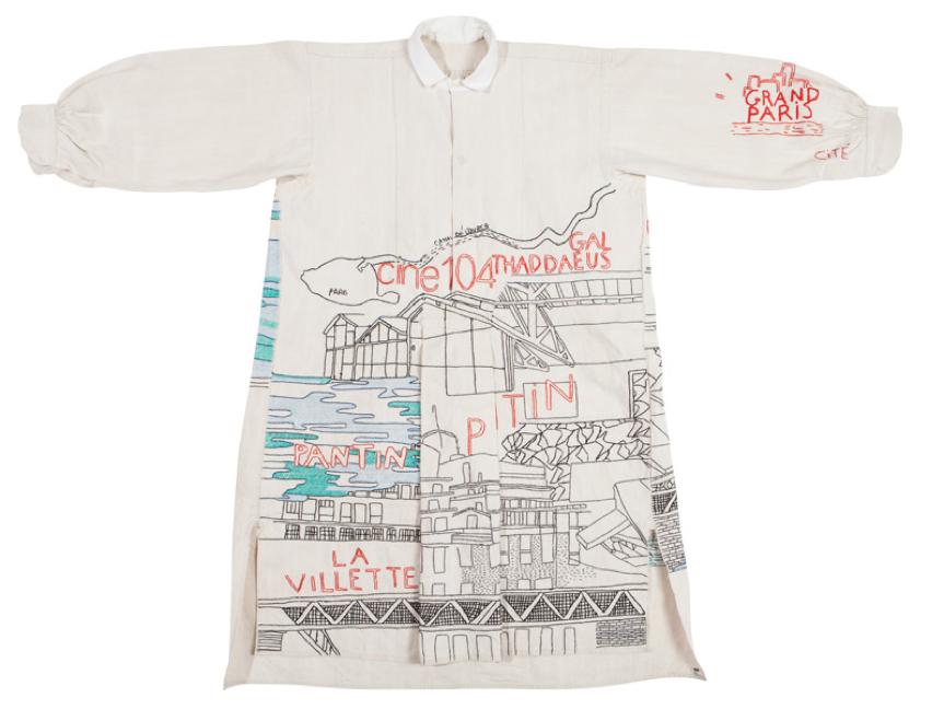 19th Century Vintage Dress Shirt with Pantin, Paris, France Design